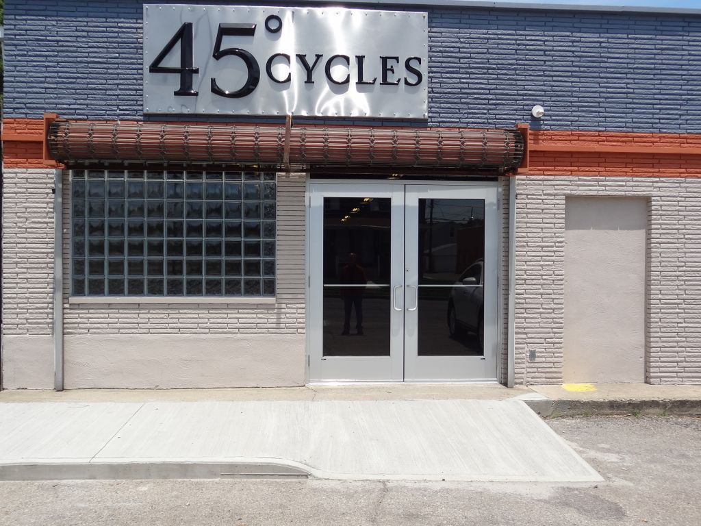 High Security Commercial Glass Block Windows Dress up the Grand Opening of 45 Degree Cycles in Columbus Ohio