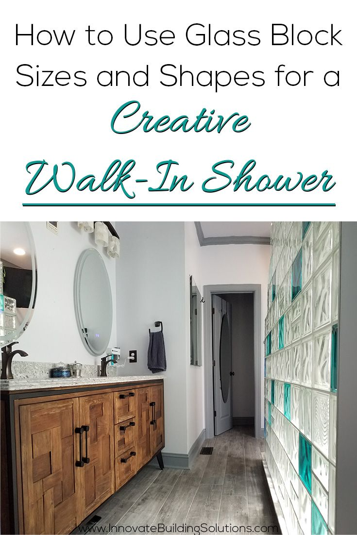 How to use glass block sizes and shapes for a creative walk-in shower