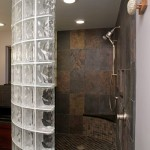 Curved glass block shower wall.