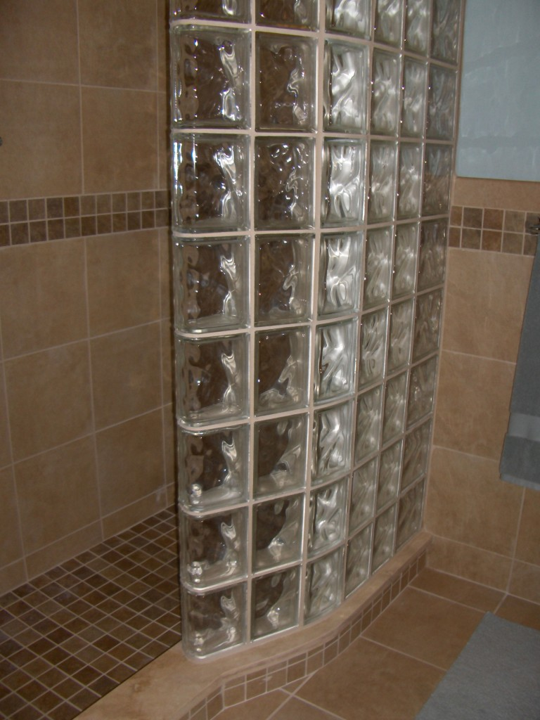 glass block shower wall using 6 x 8 blocks and curved glass block