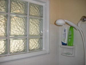 Glass block bathroom window in a shower area