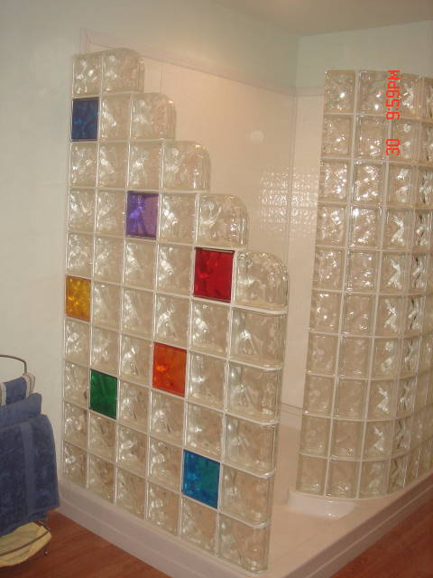 Double end glass block wall designs kitchen bath office - Glass bricks designs walls ...