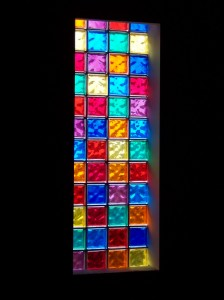 Interior View of Church Windows with Colored Glass Blocks