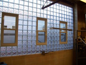 Glass Block & Vinyl Replacement Windows in a factory building