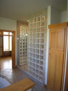 Glass block shower design
