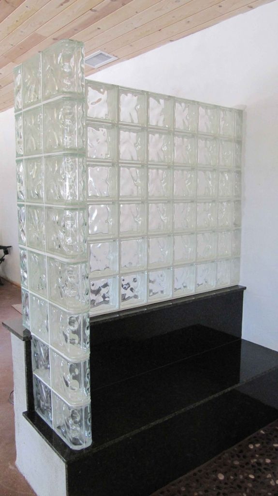 Glass Block Shower Wall On Granite Bench Seat