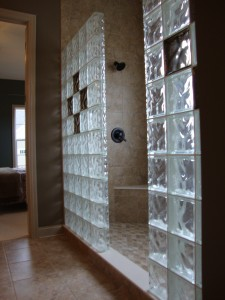 glass block shower with color glass block