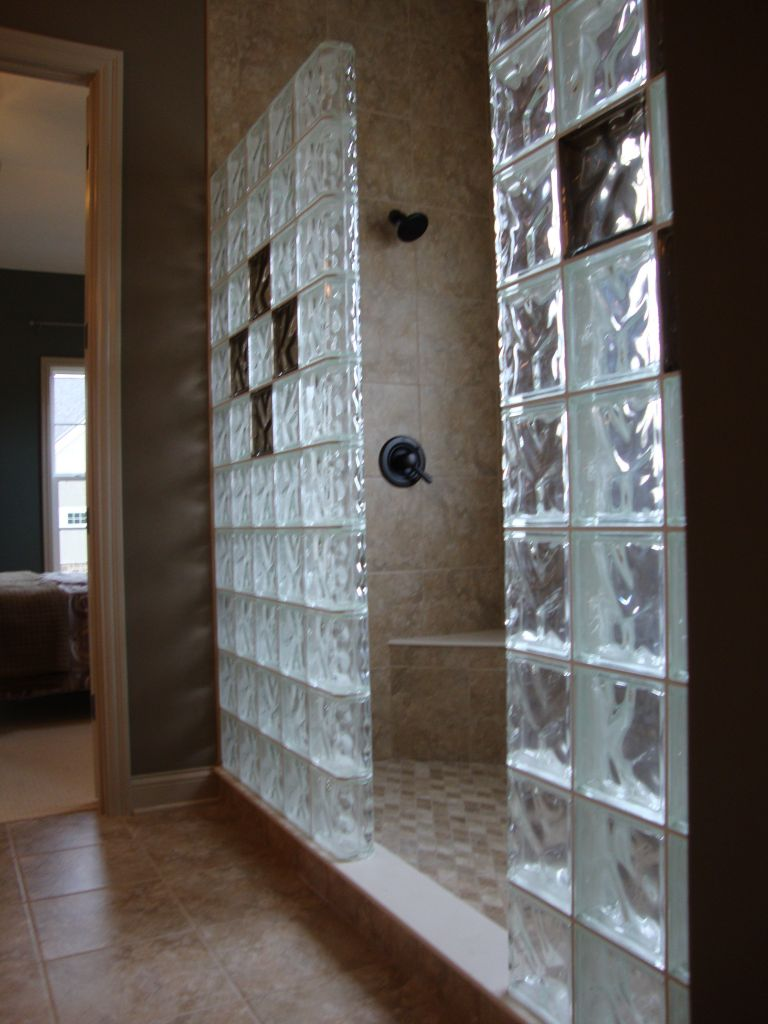 Awesome Glass Block Shower With Color Glass Block