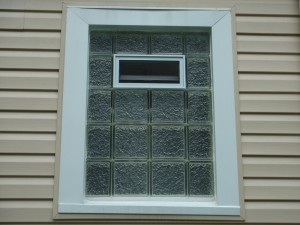 Upper floor bathroom glass block window