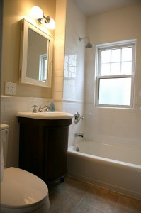 Small bath remodeling picture with curved cabinet