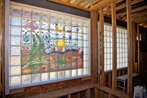 Glass block bathroom window mural for a universal design based home