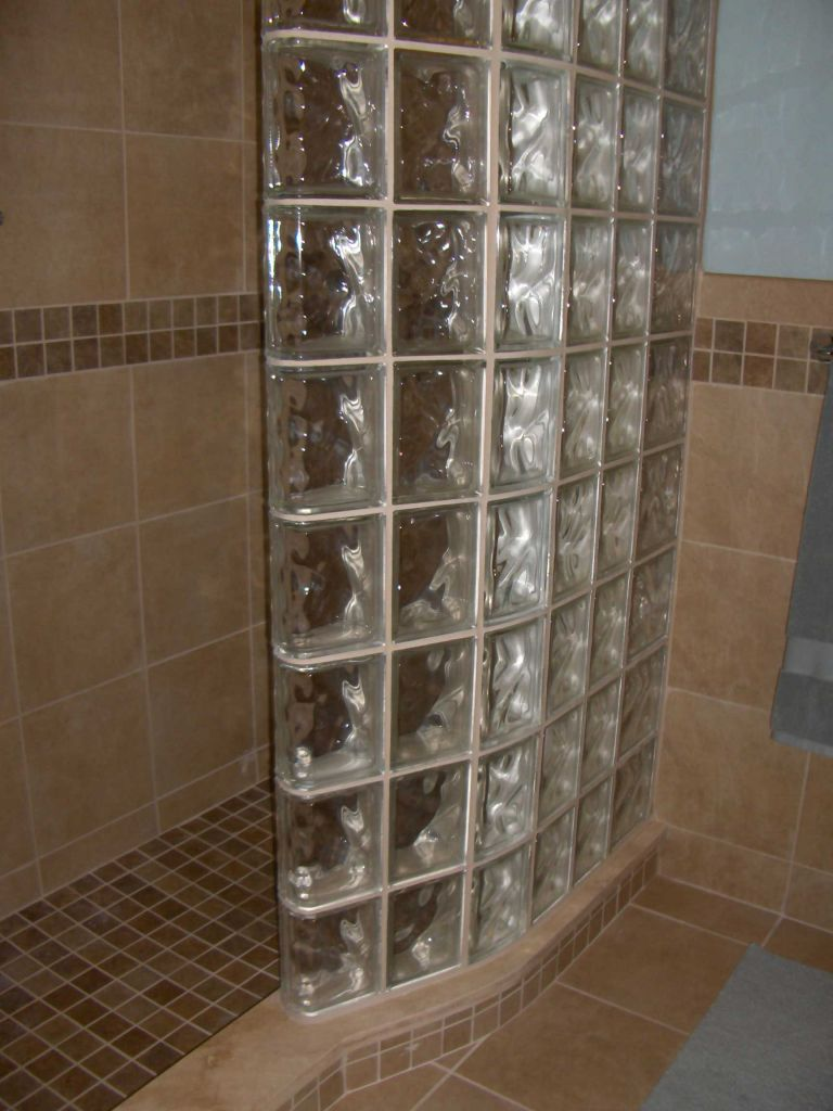 Tub Space Converted Into A Glass Block Shower