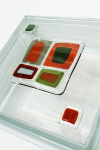 Close up view of a decorative glass tile block