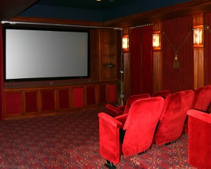Home theater room in a basement