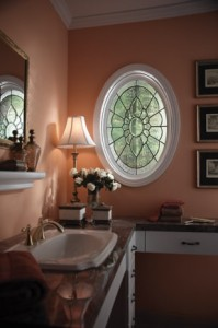 Oval Fixed Art Glass Window in a Bath