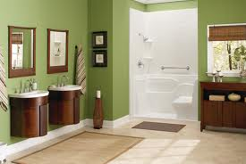 Accessible shower with a bench seat and roll under sinks