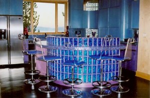 Blue colored glass block kitchen bar