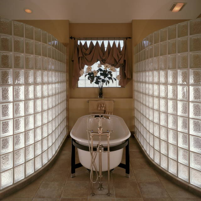 Curved Glass Block Shower Enclosure Wall