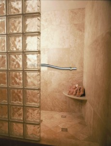 Walk in glass block shower, decorative grab bar, corner seat