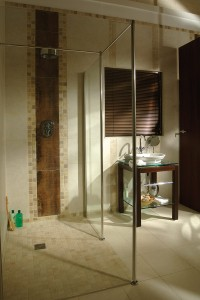 Universal and accessible wet room shower design