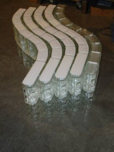 Serpentinve glass block walls ready for shipment