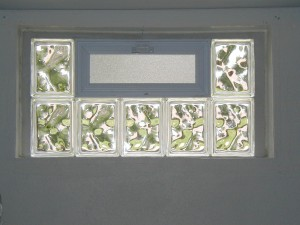 Glass block basement window with air vent