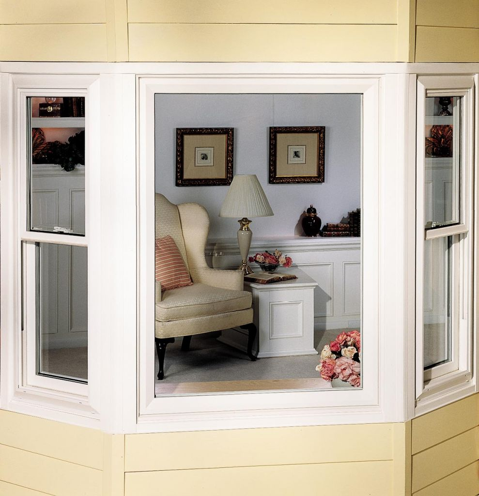 Outside View Of Bay Window With Operable Double Hung Side Windows