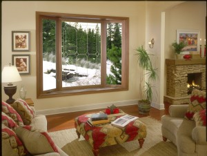 Family room bay window picture window center casement side windows