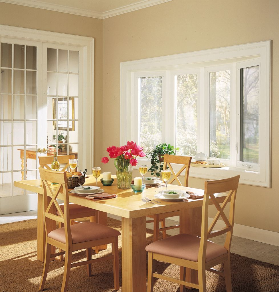 Bow window curved window seating narrow tall fixed - Dining room living room separation ...