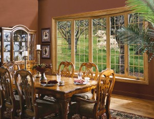 Bow dining room window with a woodgrain fnish