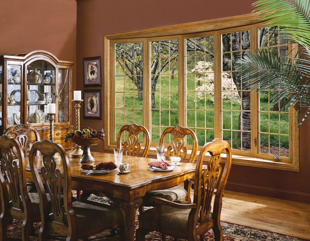 bow window curved window seating narrow tall fixed traditional bow dining room window with a woodgrain fnish