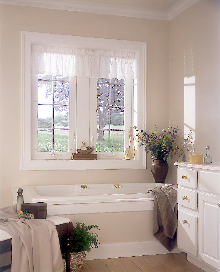 Vinyl wooden crank out casement window custom bathroom for Window design bathroom