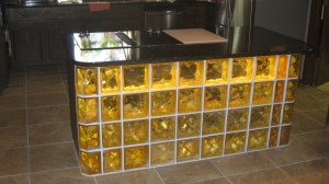 Colored glass block bar with lighting
