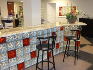 Glass block bar base with granite countertop