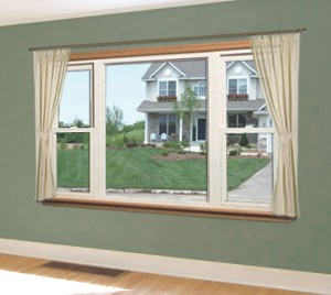 Double hung windows flanking a picture window in a family room