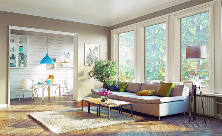 Advantage 1 large view picture window in a living room in Columbus | Innovate Building Solutions #picturewindow #LargeView #livingroom #BigWindow