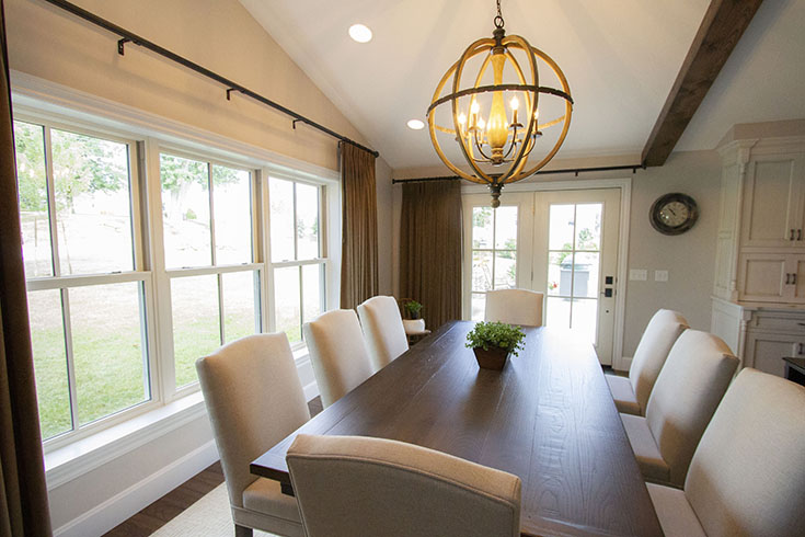 Advantage #4 - double hung windows in this cleveland dining room are easy to open | Innovate Building Solutions #DoubleHung #HungWindows #ClevelandWindow