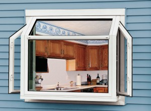 Exterior view - garden windows with casement side windows open