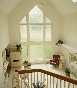 Family room picture windows in square, rectangular, trianglular shapes