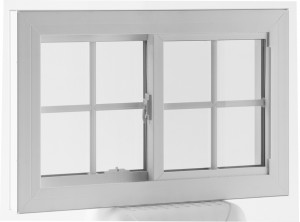 Horizontal slider replacement window with decorative grids