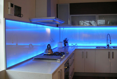 LED Illuminated Glass Backsplash