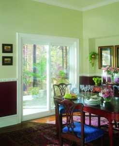 White Sliding Glass Patio Door in a Dining Room