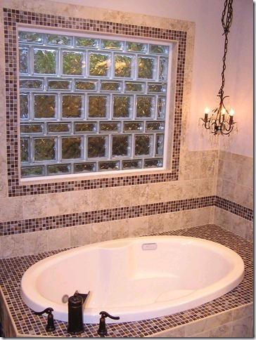 Decorative tile border around window and tub surround