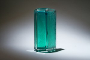 Emerald Green Colored Angled Tridron Glass Block