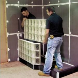 Prefab Angled Glass Block Walk In Shower Walls