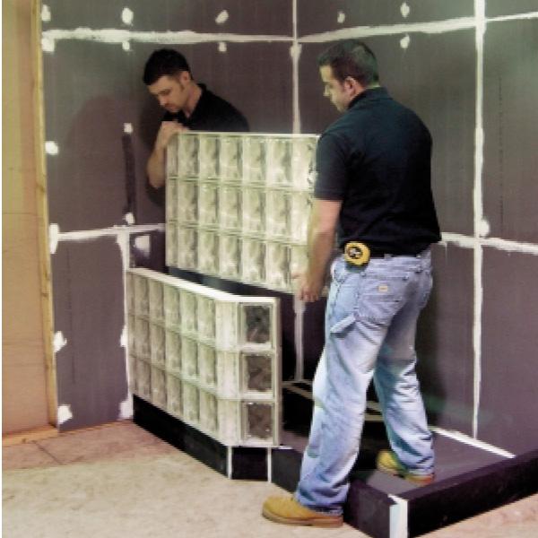 Angled Glass Block Wall, Neo Angle Shower, Tridron Angled Glass Block Installation, Decorative