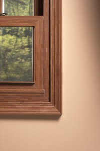Cherry woodgrain window trim