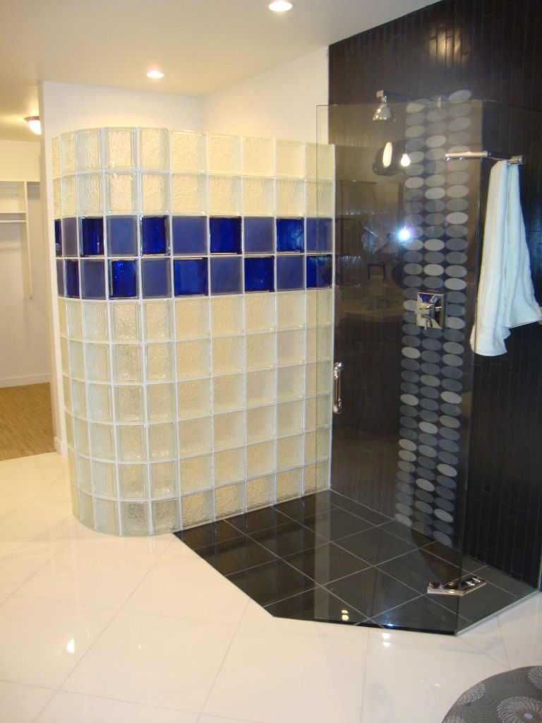 Colored And Frosted Glass Block Shower Wall Checkerboard Design