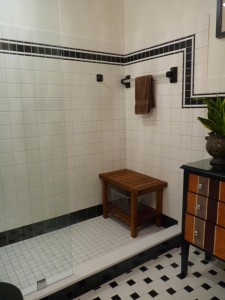 After - Walk in Glass Shower Enclosure Keeping Retro Tile Design