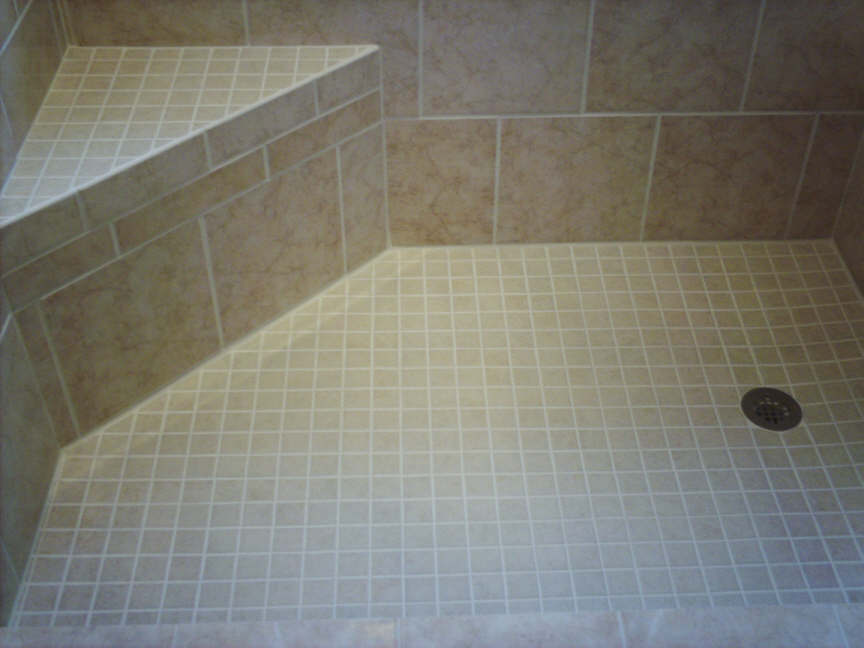 Wonderful Corner Shower Seat With Tile